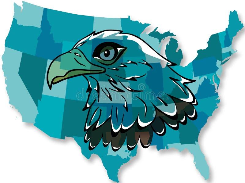 Eagle Over USA Map Stock Photos