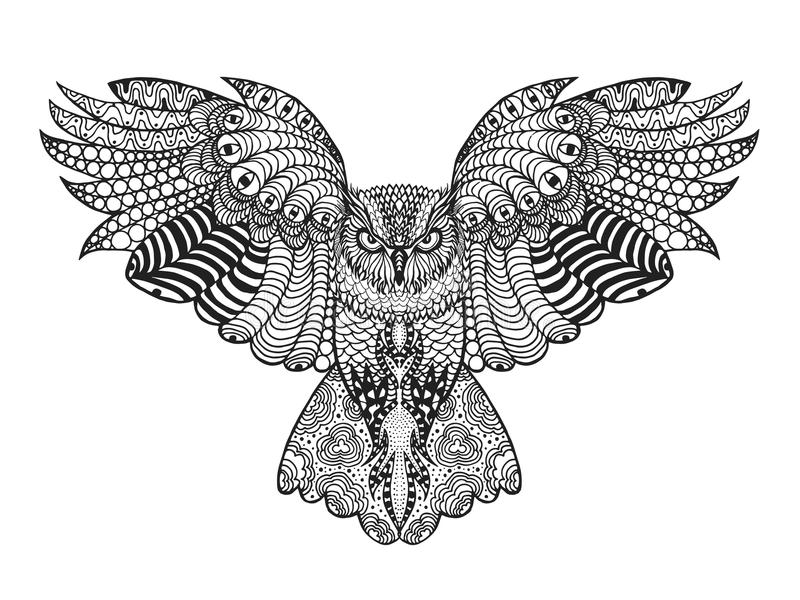 Eagle Owl. Adult Antistress Coloring Page Stock Vector ...
