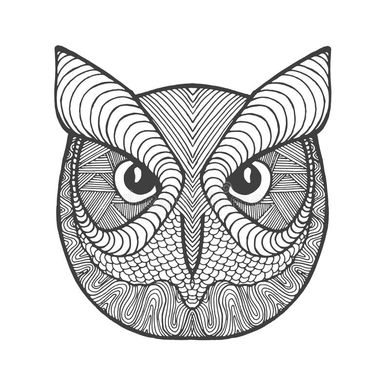 eagle owl head adult antistress coloring page black white hand drawn doodle animal ethnic patterned vector african indian totem