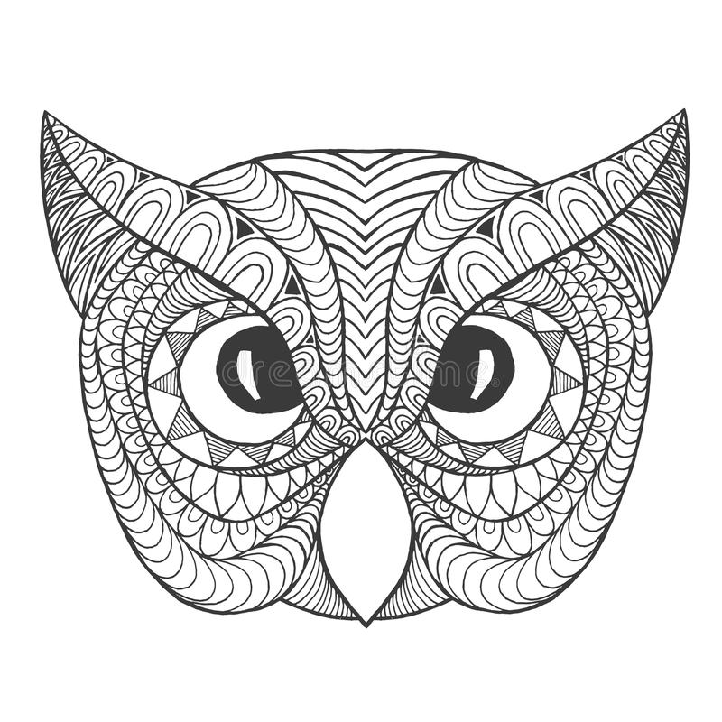 Download Eagle Owl Head Adult Antistress Coloring Page Stock Vector