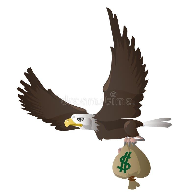 Eagle pilote et porte le sac avec des dollars illustration de vecteur
