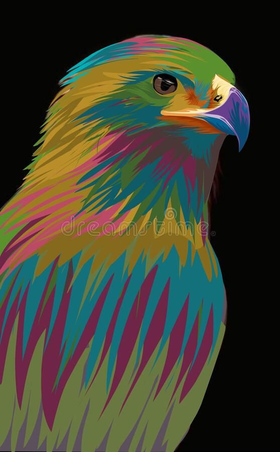 Eagle pop art potrait vector illustration