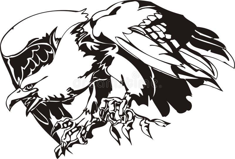 Eagle - predatory bird. Vector illustration. Ready for vinyl cutting stock illustration