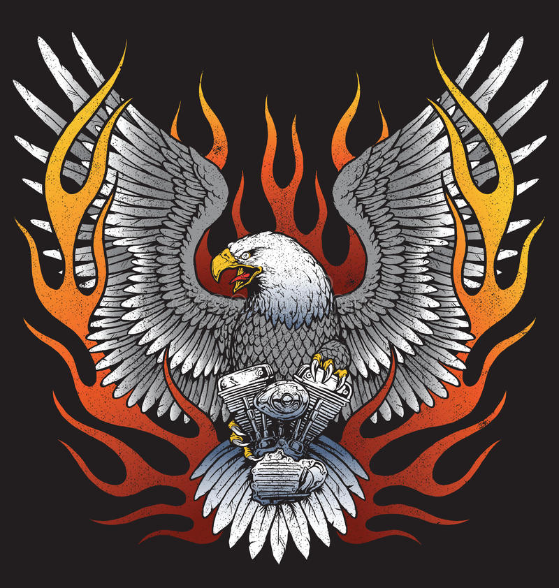 Eagle que guarda o motor da motocicleta com chamas ilustração do vetor