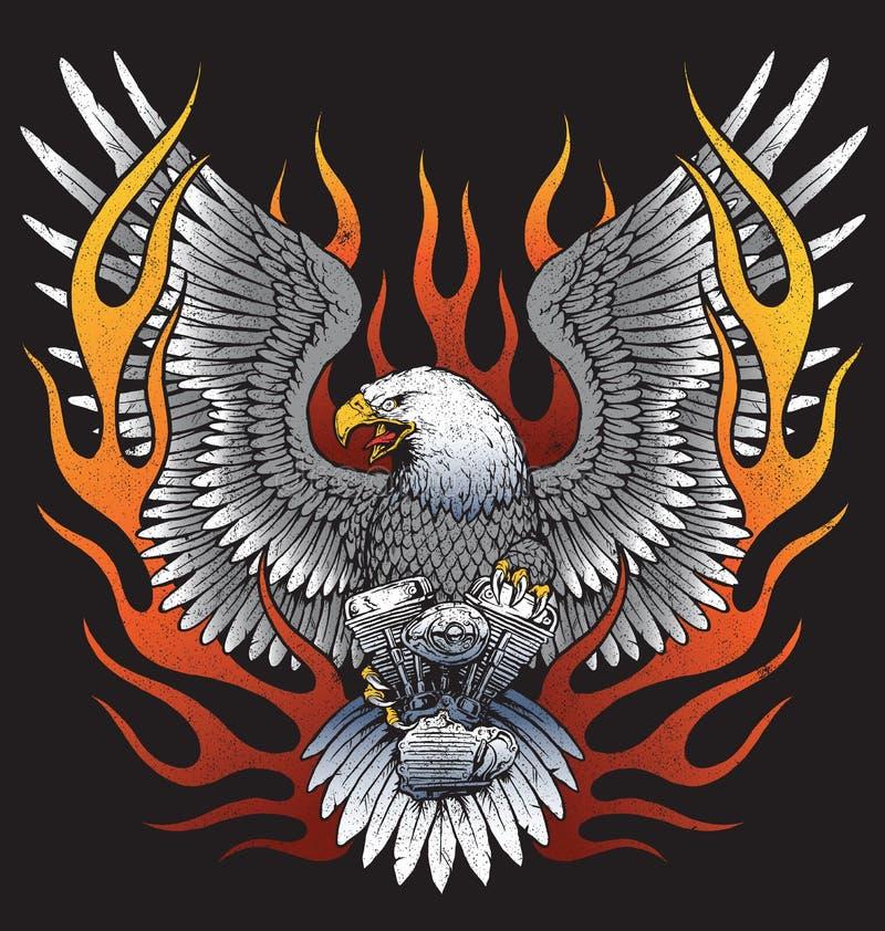 Eagle que sostiene el motor de la motocicleta con las llamas ilustración del vector