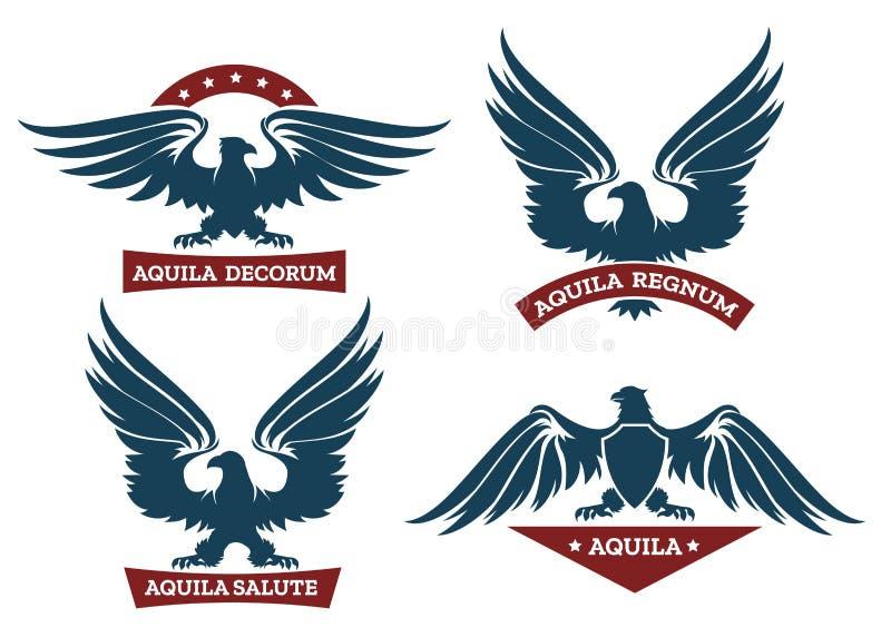 Eagle And Ribbon Emblem Set Stock Vector Illustration Of Eagle