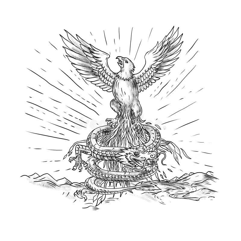 Eagle Rising Like Phoenix et Dragon Tattoo illustration stock