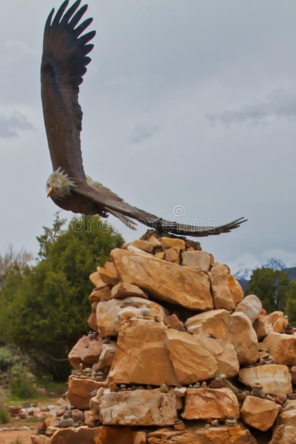 Eagle Sculpture a Dennis Weaver Memorial Park fotografia stock