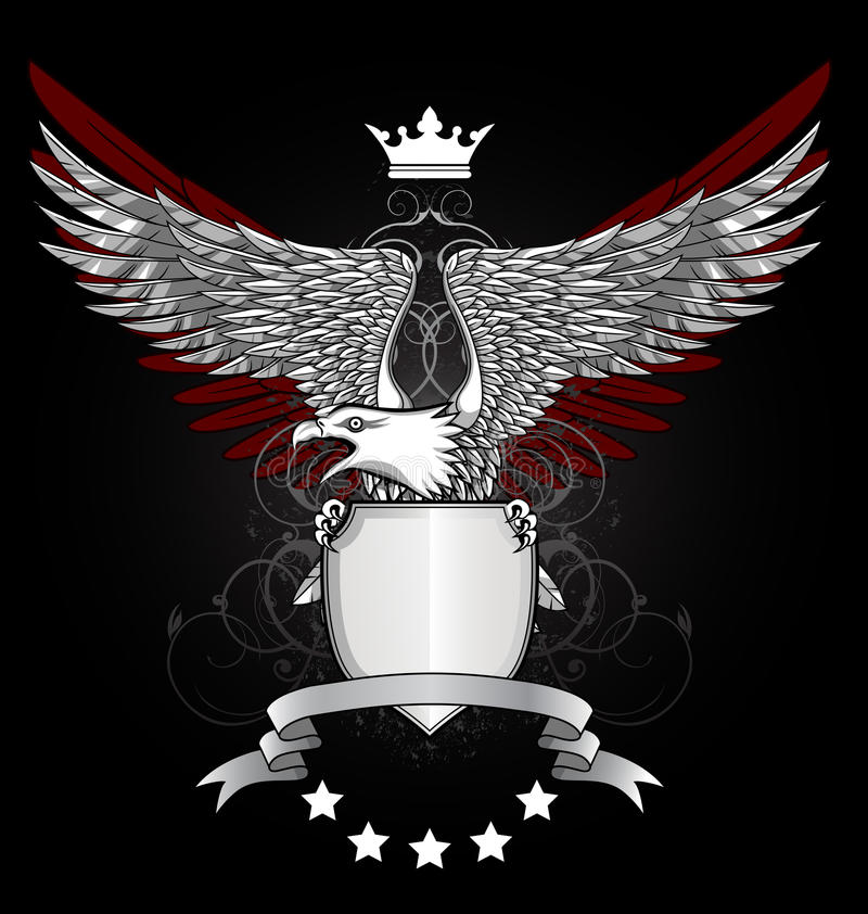Eagle With Shield And Emblem Stock Photo