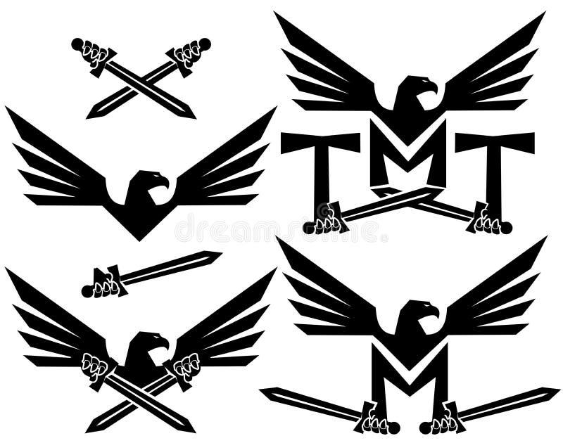 Eagle shield logo. Art wings stock photo
