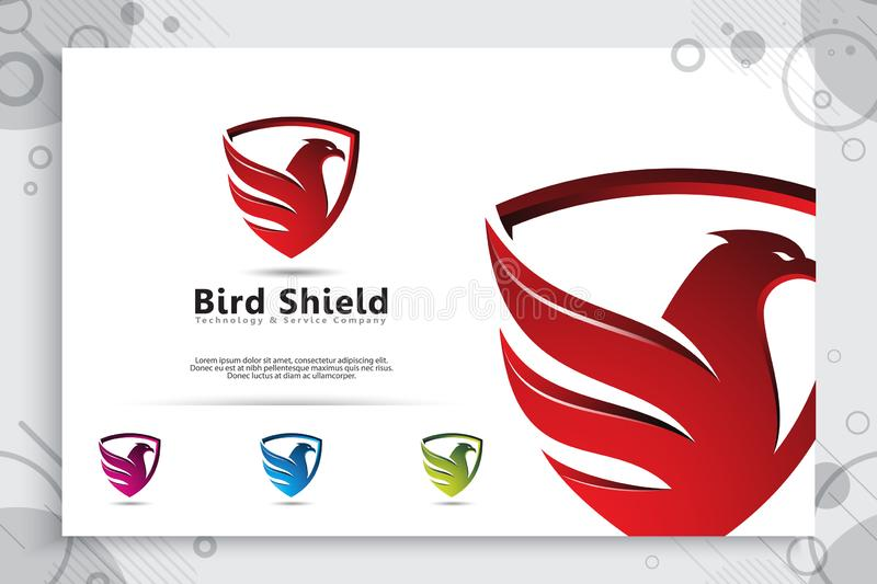 Eagle Shield tech vector logo designs with modern style concept, abstract illustration of bird shield as a symbol of cyber. Security for digital template stock illustration