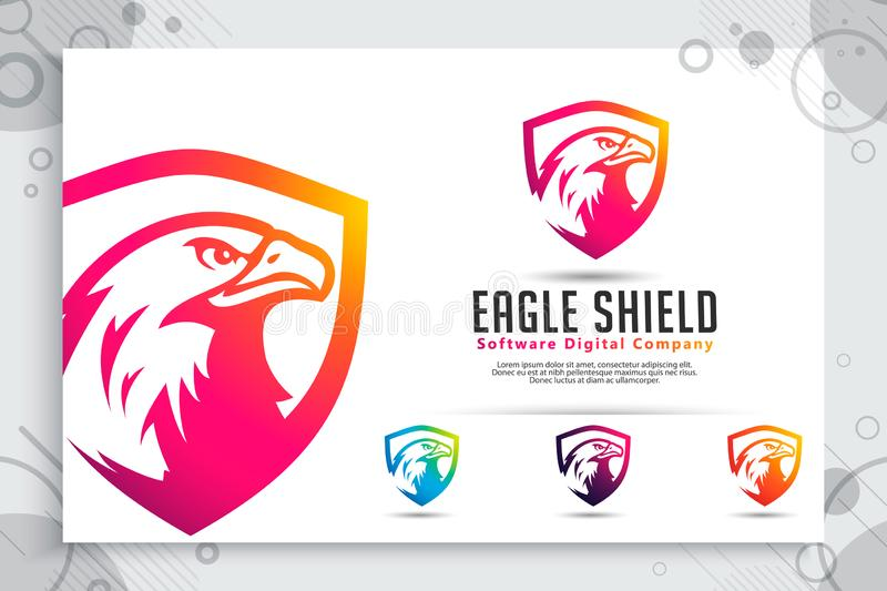 Eagle Shield tech vector logo designs with modern style concept, abstract illustration of bird shield as a symbol of cyber stock illustration