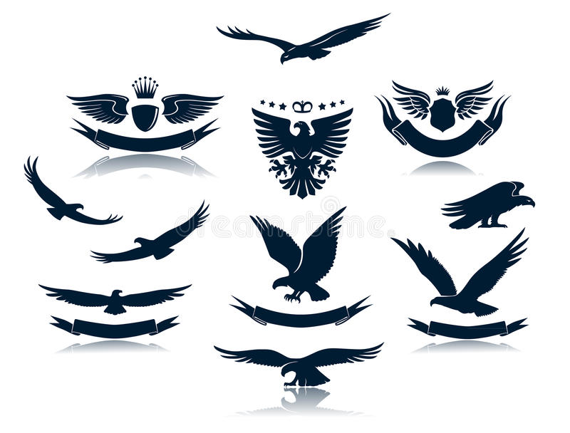 Download Eagle Silhouettes Set 3 stock vector. Illustration of spread - 25866987