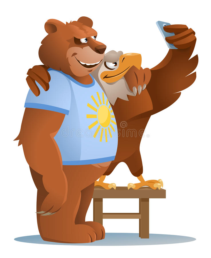 Eagle and smiling bear making selfie. American eagle and smiling Brown bear making selfie. Ordinary life of animals. Cartoon styled vector illustration vector illustration