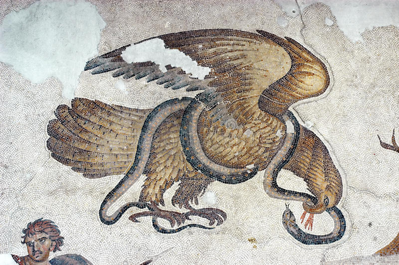 Eagle and Snake, mosaic stock photo