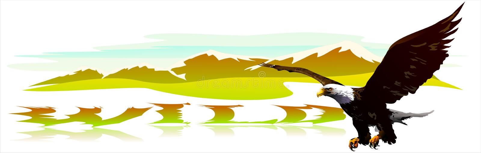 Eagle soaring over mountains. (Vector) stock illustration