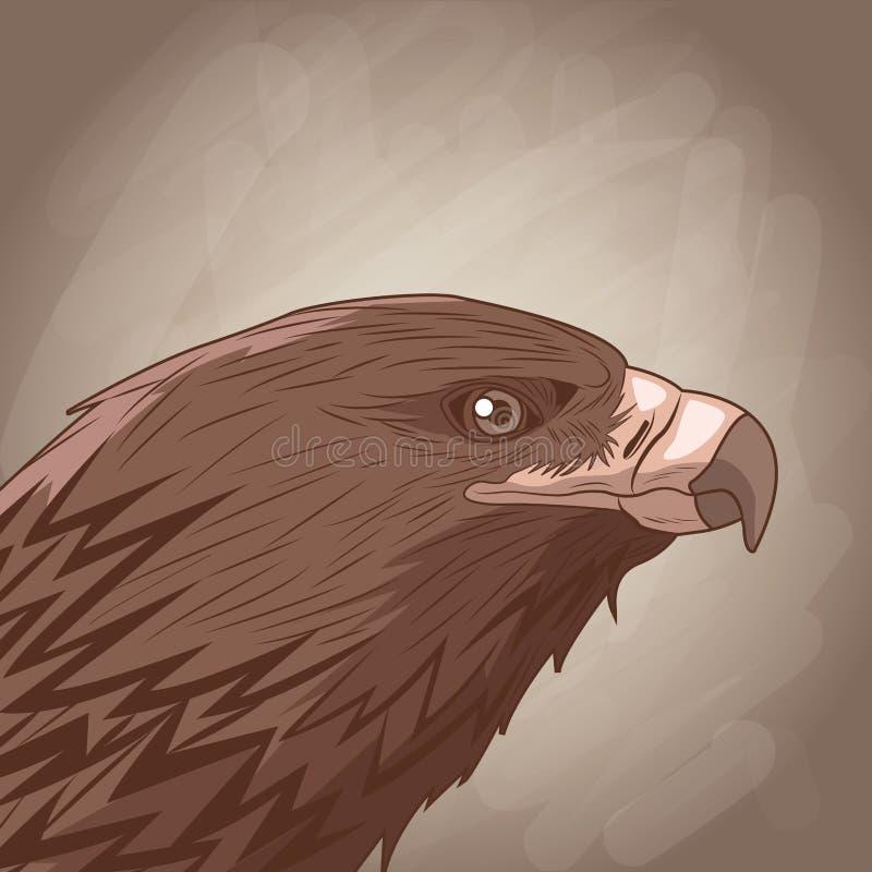 Eagle som drar över brun bakgrund stock illustrationer