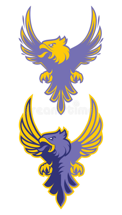 Eagle-sport logotype voor universiteitsteam Geïsoleerdj op witte achtergrond royalty-vrije illustratie