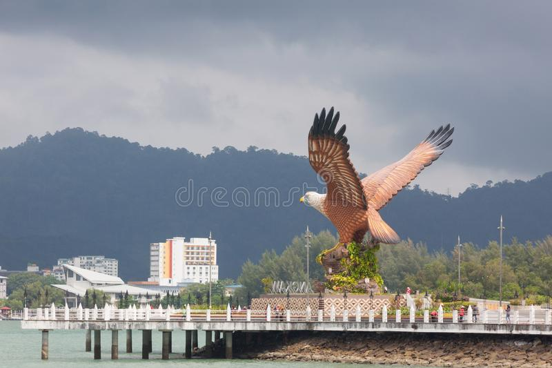 Eagle Square and ferry jetty on Langkawi Island , Malaysia stock images