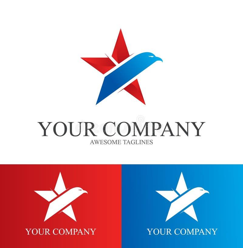 Eagle Star Logo Design Template Flat Style Design. Vector Illustration. Eagle Star Army Logo Design royalty free illustration