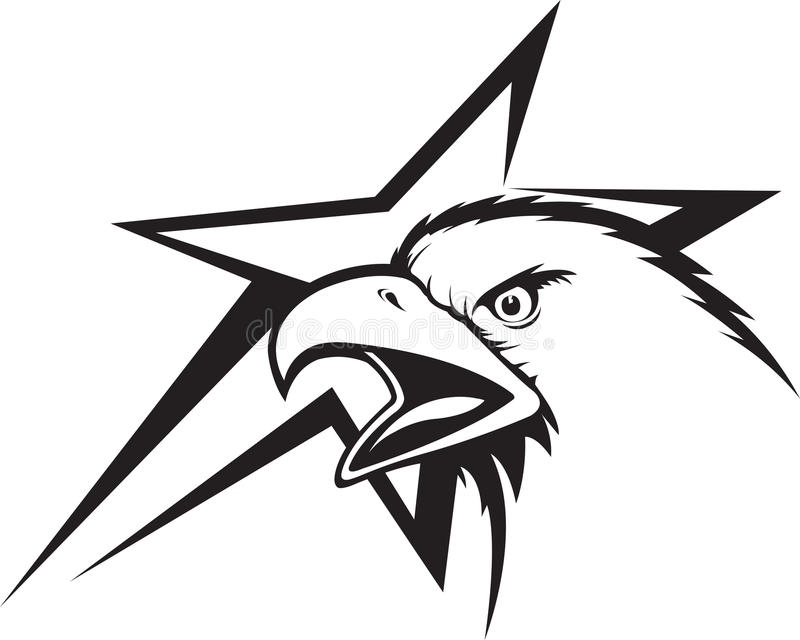 Eagle and Star. Illustration of an Eagle Head and abstract star. Vector and high resolution jpeg files available royalty free illustration