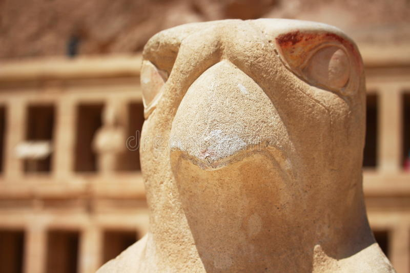 Eagle statue surrounding the main entrance of Temple of Queen Hatshepsut in Luxor stock photos