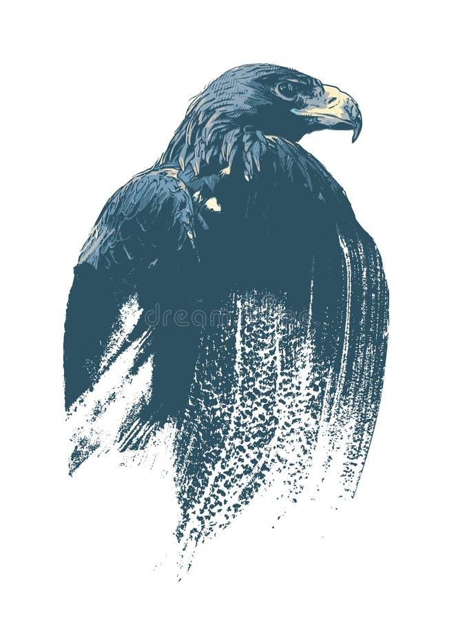 Eagle strażnik lasowy krajobraz, akwareli ilustracja ilustracji