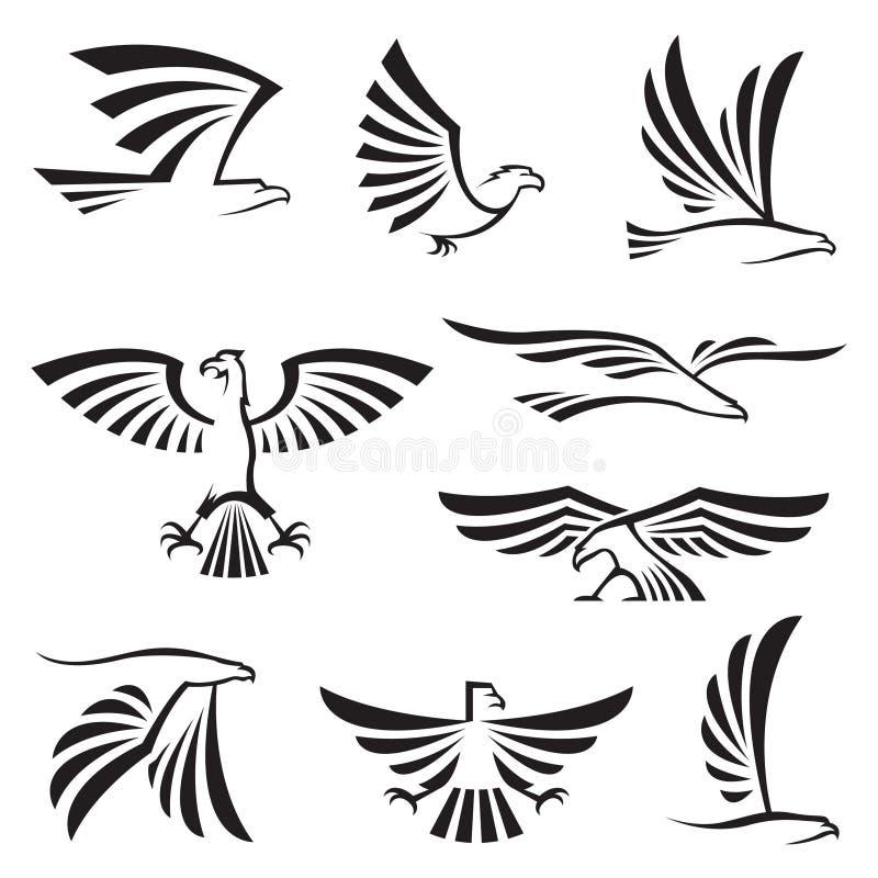 Eagle symboler vektor illustrationer