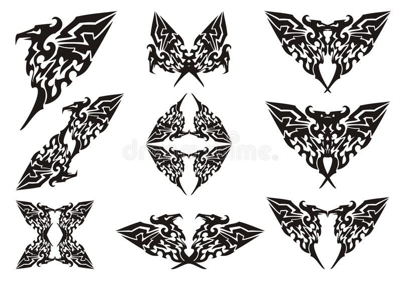 Stock Illustration Volleyball Tribal Abstract Vector: Eagle Symbols In Tribal Style. Black On The White Stock