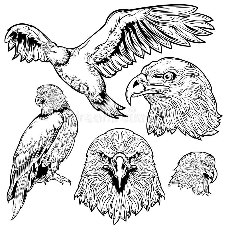 Eagle Tattoo Set vektor illustrationer
