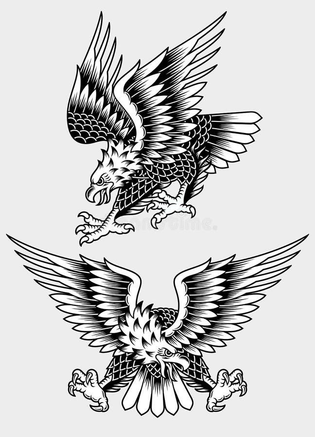 Eagle Tattoo Vetora Illustration gritando americano ilustração royalty free