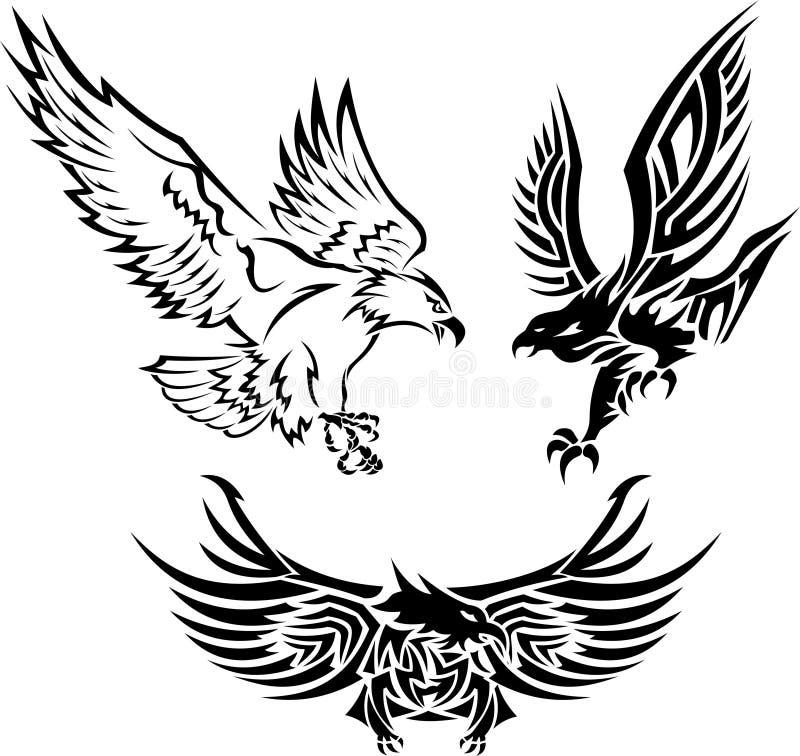 Eagle Tattoos tribal ilustração royalty free