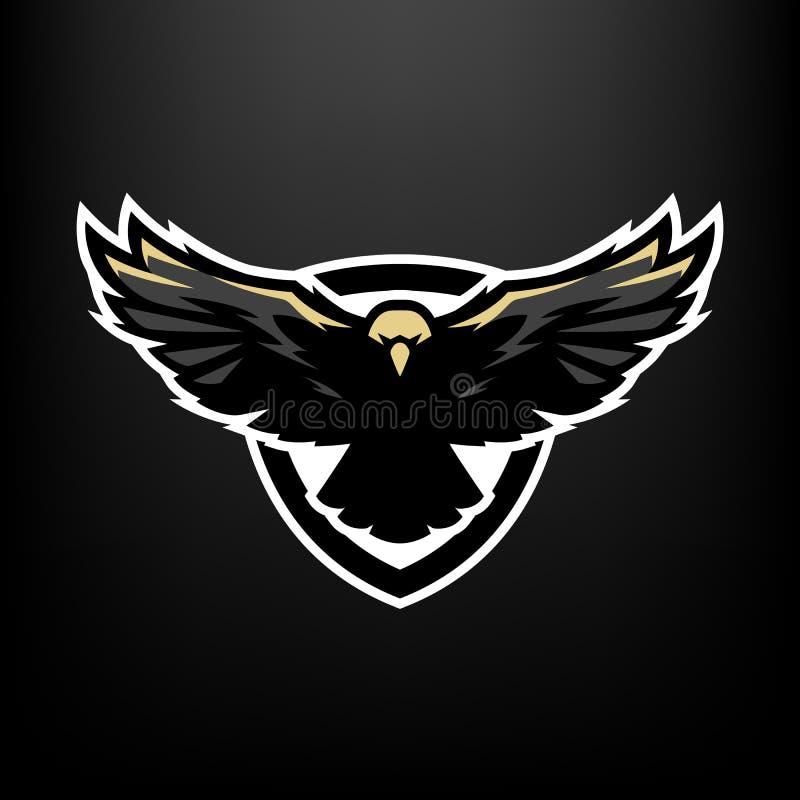 Eagle tijdens de vlucht, embleem, symbool stock illustratie