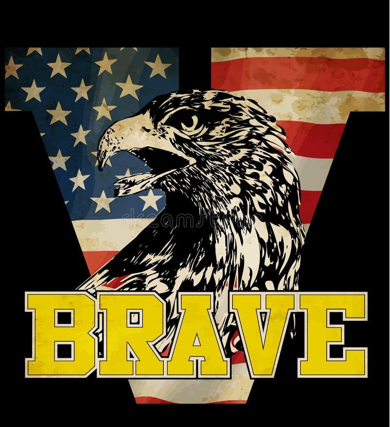 Eagle trójnika grafika z flaga amerykańską ilustracji