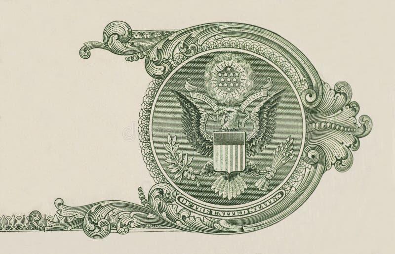 Eagle on $1 U. S. dollar bill closeup macro stock photo