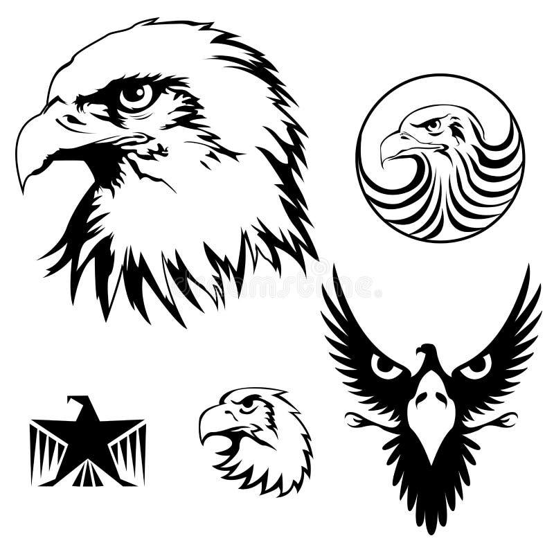Eagle uppsättning stock illustrationer