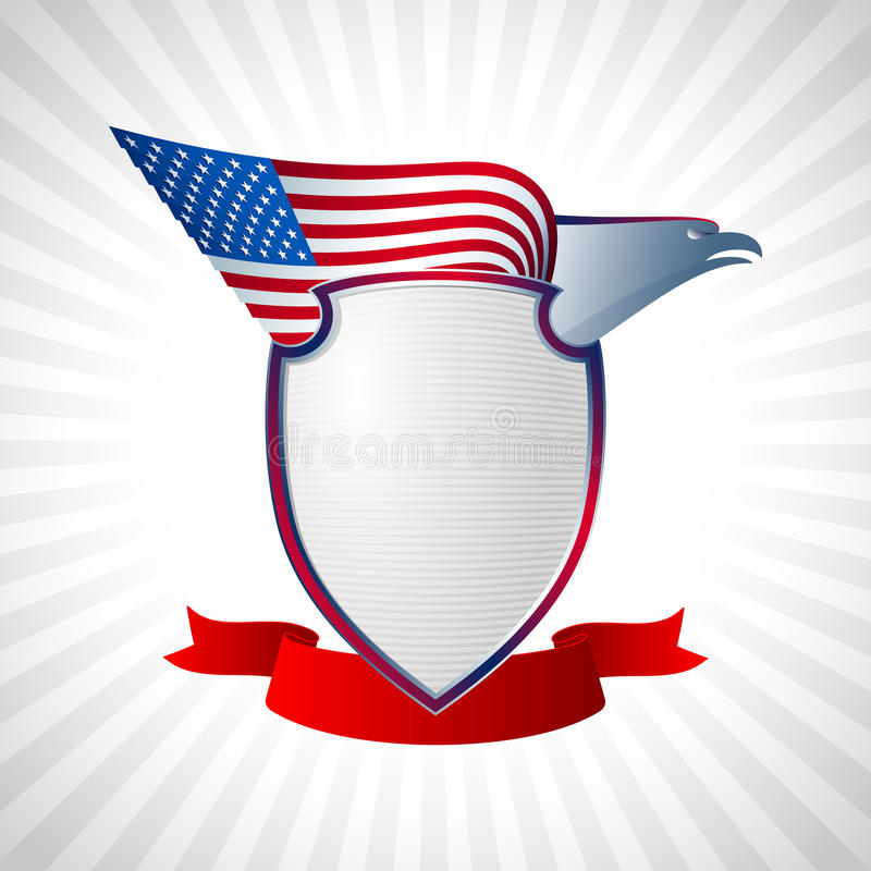 Eagle USA osłony flaga skrzydła Latający tło Popielaty royalty ilustracja