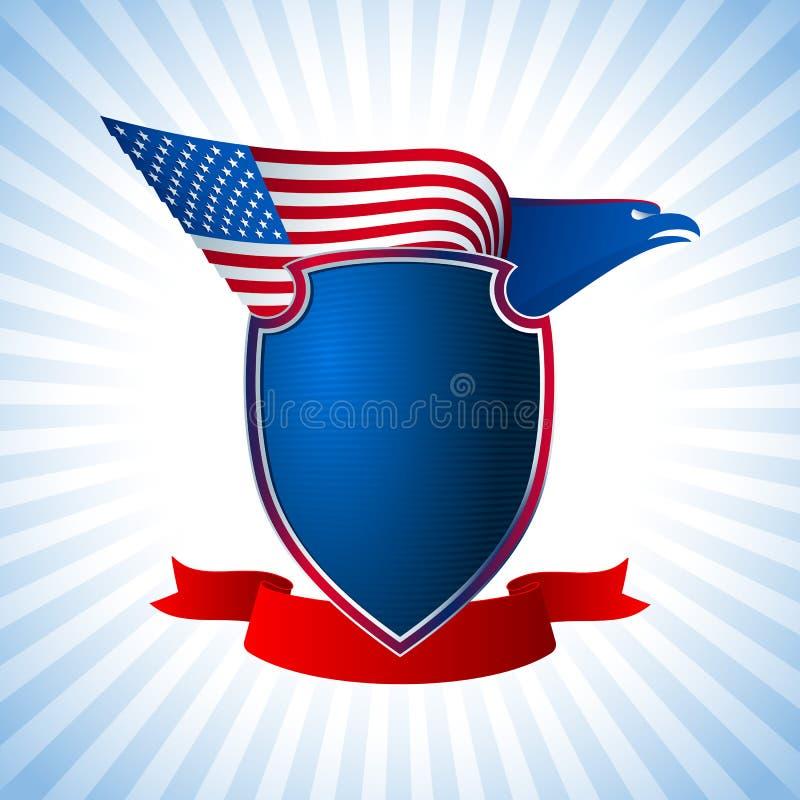 Eagle USA osłony flaga skrzydła tła Latający błękit royalty ilustracja