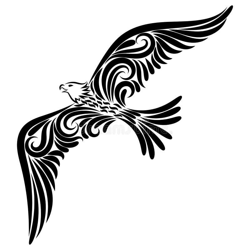Eagle van het zwarte lijnornament royalty-vrije illustratie