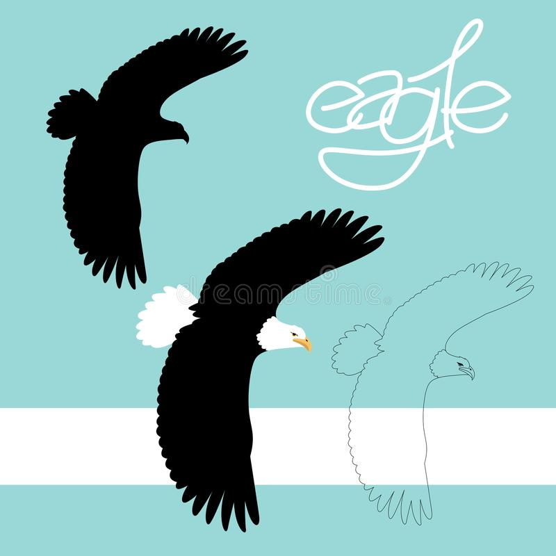 Eagle vector illustration style flat black silhouette line stock illustration