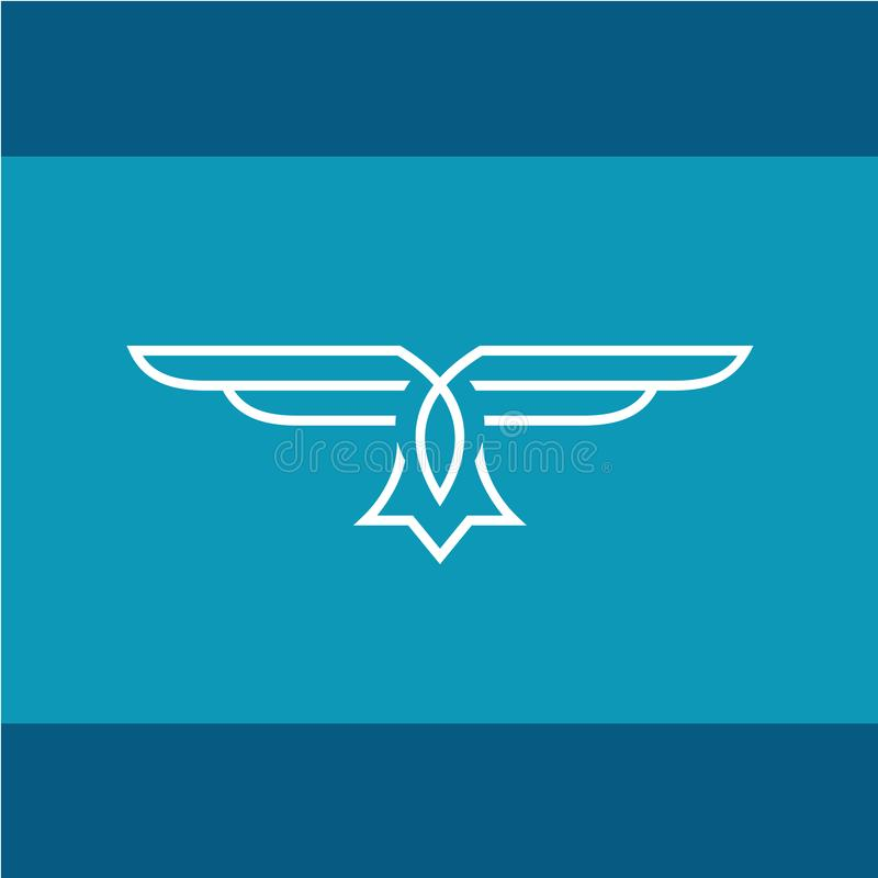 Eagle vektorlinje logo vektor illustrationer