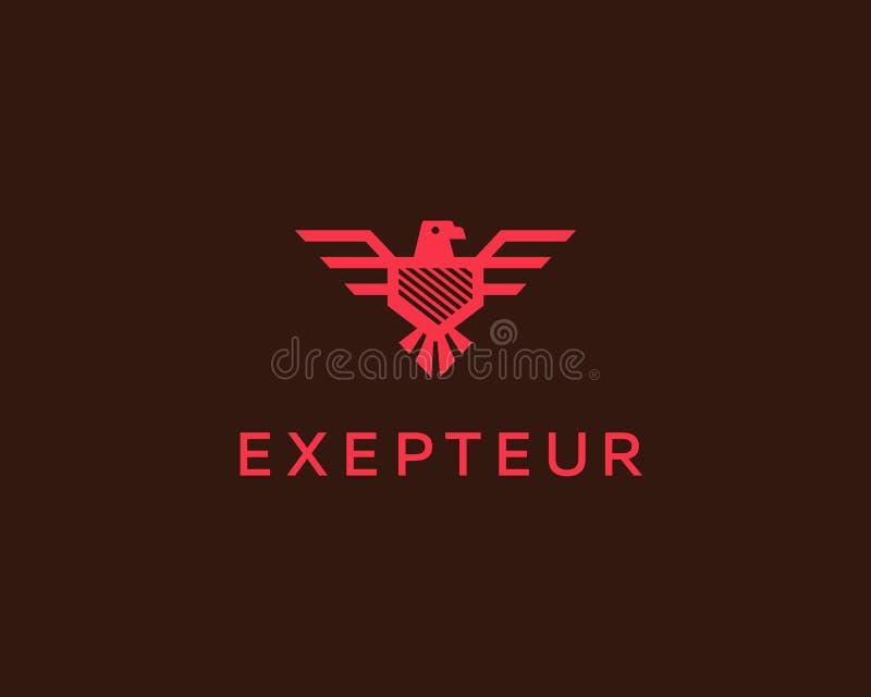 Eagle vektorlogotyp Mall för design för falksköldlogo Lyxigt märke, fågelvapenemblem, högvärdigt symbolsteckensymbol vektor illustrationer
