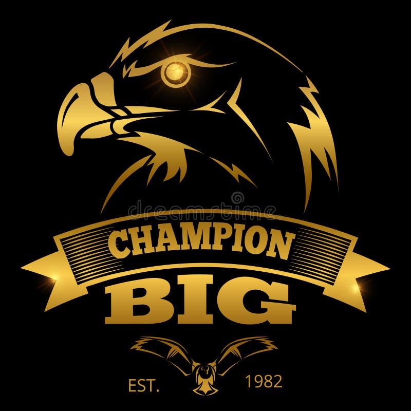 Eagle-wapenkunde vectoretiketten, emblemen, emblemen Het gouden ontwerp van het adelaarsteken vector illustratie