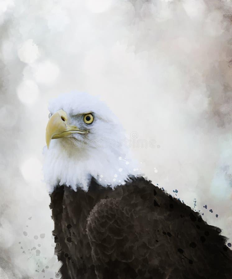 Eagle Watercolor calvo ilustración del vector