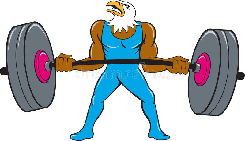 Eagle Weightlifter Lifting Barbell Cartoon calvo libre illustration