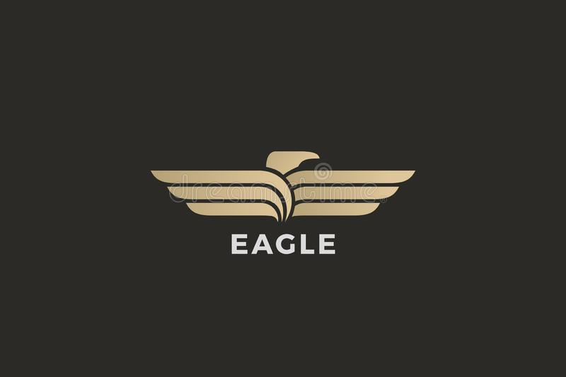 Eagle Wings Logo abstract luxury design vector template. Falcon Hawk Logotype concept icon stock illustration