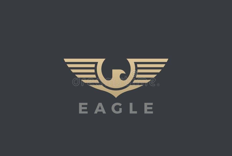 Eagle Wings Logo design vector Heraldic. Falcon Ha royalty free illustration