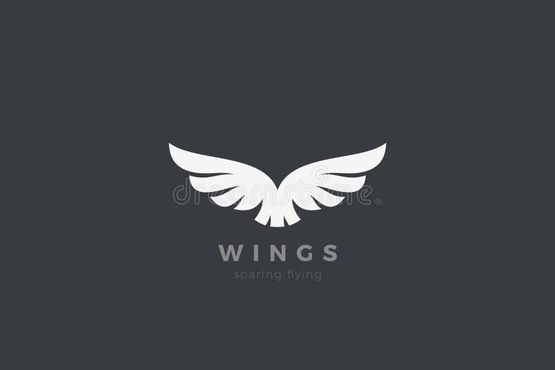 Eagle Wings Logo design vector template. Luxury corporate heraldic flying Falcon Phoenix Hawk bird Logotype concept icon stock illustration