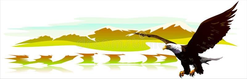 Eagle wznosi się nad górami. (wektor) ilustracji