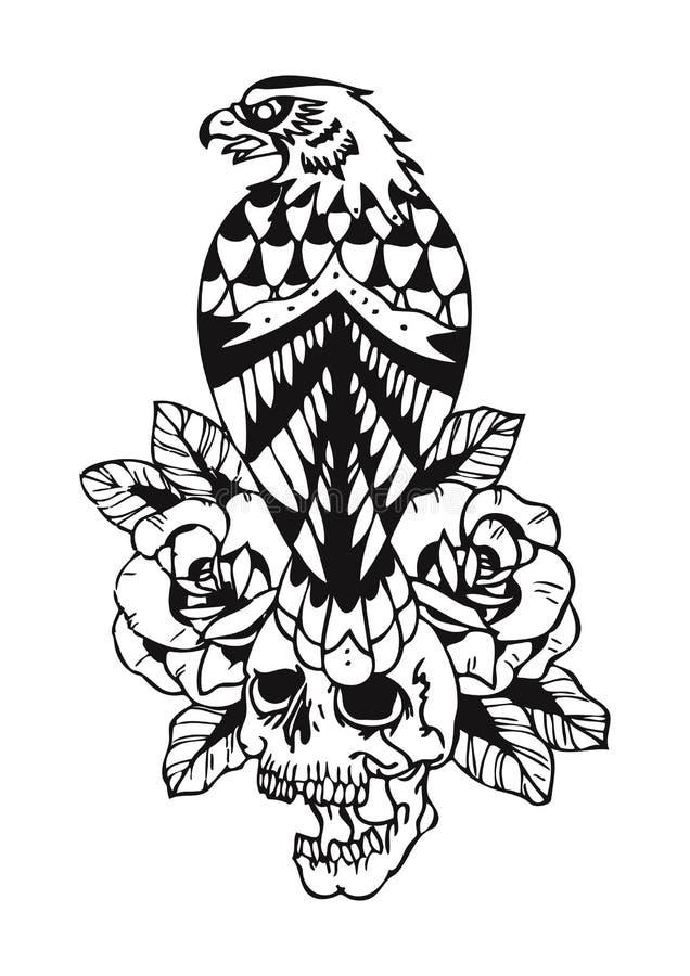 Eagle y tatuaje del cráneo stock de ilustración